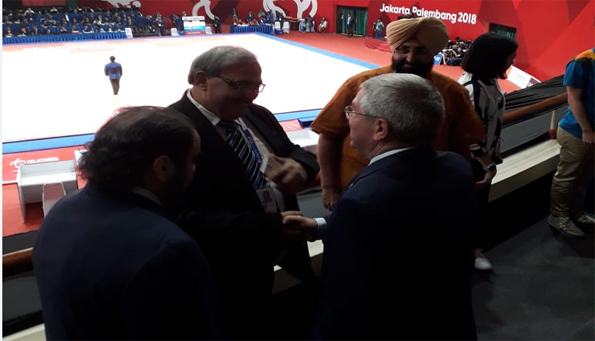 Welcoming IOC President in Judo Events of Asian Games 2018, Jakarta.